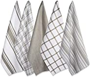 DII Cotton Luxury Assorted Kitchen Dish Towels, 18 x 28 Set of 5, Ultra Absorbent Fast Dry, Professional Grade