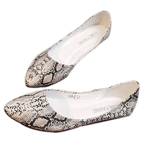 Youchan(ヨウチャン) 大人 カジュアル パイソン フラット パンプス ローヒール 靴 シューズ レディース (35(22.5cm),ホワイト)