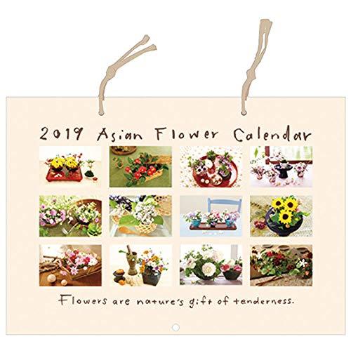 アジアンフラワーカレンダー 壁掛けタイプ <2019年1月から2019年12月対応> C-1903