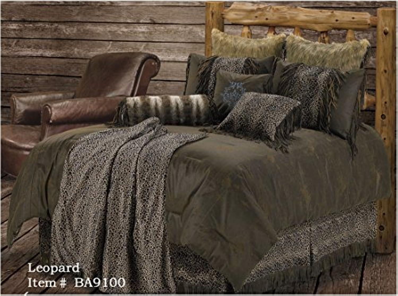 H & H Leopard Western 5 Pcスーパーキング寝具セット – Includes : (1掛け布団、2枕カバー、1ベッドスカート、1ヒョウ印刷アクセント枕)保存Big On 。バンドリング