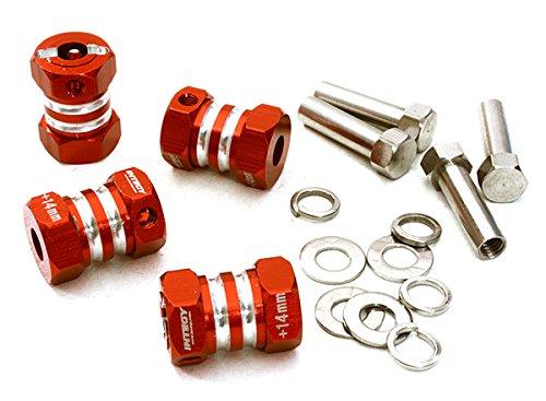 Integy RCモデル ホップアップオプションズ C27013RED 12mm 六角 ホイール (4) Hub +14mm Offセット for 1/10 縮尺 トラック & Buggy
