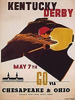 Kentucky Derby Go Via CHESAPEACK OHIO HORSE RACE JOCKEY VintageポスターREPRO