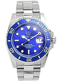 [HYAKUICHI 101] ヒャクイチ ダイバーズ 20気圧防水 腕時計 ウォッチ ビジネス カジュアル デイト 逆回転防止ベゼル ブルー メンズ