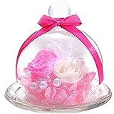 TEATSIGHT プリザーブドフラワー フラワーアレンジ ラッピング済み ガラスポット入り 2輪 (バラ 白×ピンク)