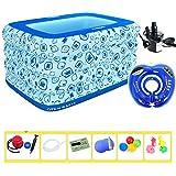 折りたたみインフレータブル厚く暖かい子供のバスタブ、スパバスタブ、赤ちゃんのプール高度なインフレータブルプール耐久性のある優しいPVC (Color : Blue, Size : D)