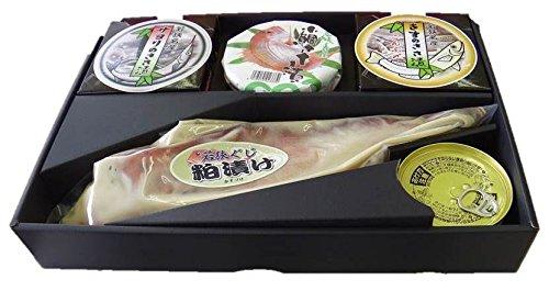 若狭小浜 海鳴り(煌めき)笹漬け100g×3個、若狭ぐじ粕漬け、鯖缶のセット