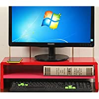 Super Kh® ペイント繊維板コンピュータモニタ棚板の増加、デスクトップデッキフレーム、2F、寸法53 * 20 * 15cm * (色 : Red)