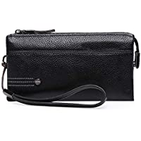 Men's Clutch Men's Wallet Zipper Handbag Business Men's Clutch Wrist Strap (Color : Black, Size : 20 * 12 * 4CM)