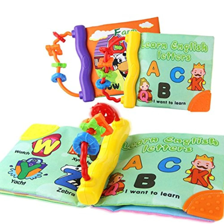 e-scenery非毒性布ソフトブックwith Rattle Teetherリング幼児赤ちゃんの幼児用Rattle、教育インテリジェンス開発玩具 マルチカラー E-SCENERY