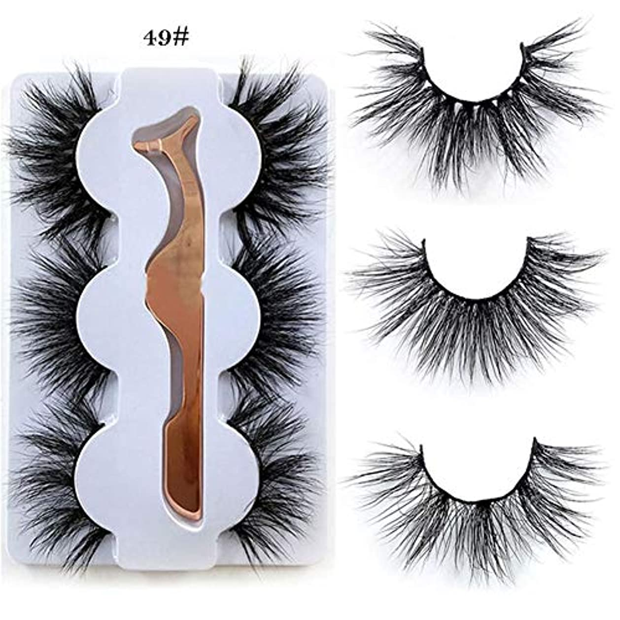 侵入する意志とは異なりViugreum つけまつげ 6Dミンクつけまつ毛 3ペア 自然 濃密 メイクアップ ナチュラル 長持ち 100%手作り 繊細 柔らかい まつげ 超軽量毛 上品