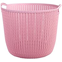 ZYH バスルーム汚れた服のバスケット、純粋な色大きい籐のパターンプラスチック汚れた服の収納バスケットおもちゃの収納バスケット32-39.7CM ストレージ (色 : Pink, サイズ さいず : 32 * 26.5CM)