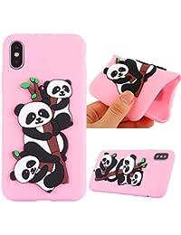 iPhone Xケース iPhone 10ケースCUSKING ソフト シリコンケース 弾力性付き アニメ かわいい パンダ 柄 耐衝撃 衝撃吸収 滑り防止 アイフォンXケース アイフォン10ケース - ピンク