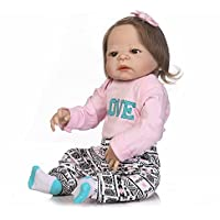 Decdeal 22in リボーンドール かわいい少女 人形 哺乳瓶付き 子供ギフト 友達