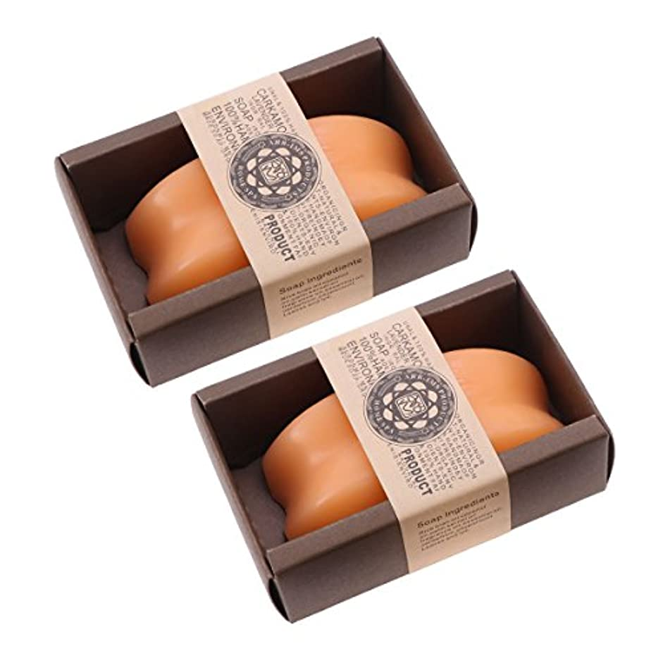 信条無視猟犬Lurrose パパイヤソープオーガニック手作りエッセンシャルオイルソープバーモイスチャライジングボディウォッシュソープ2個(オレンジ)