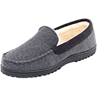 HomeTop Men's Comfy Warm Wool Micro Suede Plush Fleece Lined Moccasin Slippers House Shoes Indoor/Outdoor