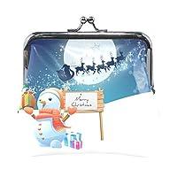 Anmumi がま口 ポーチ 雪だるま サンタクロース クリスマス 月 コインケース 財布 小銭入れ PUレザー レディース キッズ 子供 人気 大容量 小物ケース かわいい 通勤通学