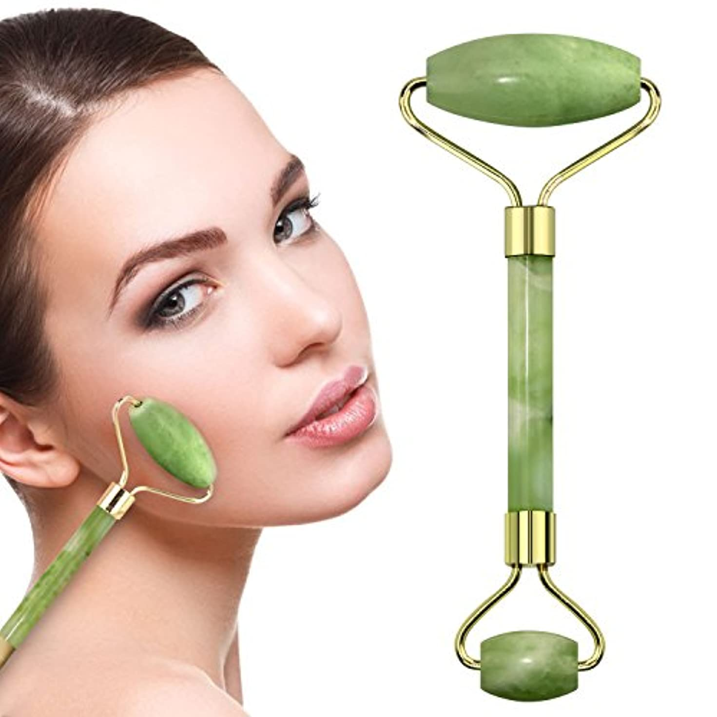一般的なベールお風呂Facial Jade Roller Anti-aging Facial Massager Face Body Head Neck SPA Double Neck Slimming Massager-Gift Boxed...