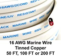 GS Power's 16 Ga (True American Wire Gauge) AWG Tinned Oxygen Free Copper OFC Duplex 16/2 dual conductor AC Marine Boat Battery Wire. Cable Length: 200 FT (50 or 100' Options Available) [並行輸入品]