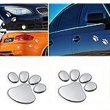 樱のホーム ラブリー 車用ステッカー 粘着ステッカー 装飾 自動車用 3D クマ犬動物の足の足跡 フットプリント 2枚入り(シルバー)