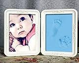 My Vision 手形 フォトフレーム スタンド 思い出 赤ちゃん 記念写真 粘土 足形 インテリア 贈り物 記念 (ブルー) MV-MEMOFRM02-BL