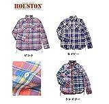 HOUSTON ヒューストン チェックビエラワークシャツ ネイビー ピンク クレイジー 3カラー (M, ネイビー)