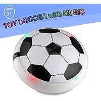 beyumi Air電源おもちゃサッカー、トレーニングボールディスクwith Foamバンパー、面白い音楽とカラフルなLEDライト屋内&屋外のゲーム男の子女の子スポーツ子供おもちゃ