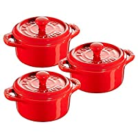 Staub Ceramic Round Mini Cocotte 3-pc Set - Cherry by Staub
