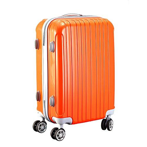 スーツケース TSAロック搭載 キャリーケース アルミフレーム 機内持込可 旅行 超軽量  4輪ダブルキャスター  鏡面仕上げ 人気 (Lサイズ, オレンジ)