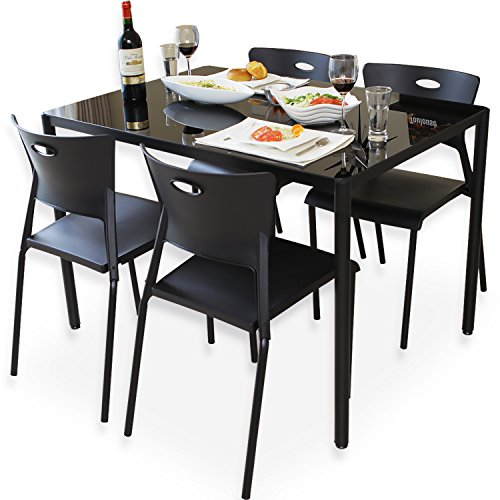 LOWYA (ロウヤ) ダイニングテーブル 5点セット ガラステーブル 強化ガラス スタッキングチェア 4人掛け ダイニングテーブルセット ブラック おしゃれ