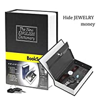 Book Safe withメタルロックボックス–HengSheng新しい英語辞書フィットHiddenホームDiversion Secret Book Safeポータブル旅行ボックスwithキーロックボックスセーフ ブラック