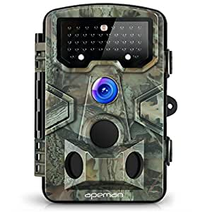 APEMANトレイルカメラ 動体検知カメラ 狩猟モニターカメラ 監視カメラ 1200万画素1080PフルHD 120°広角レンズ 人体感知センサー 自動録画 家庭/動物撮影/野外監視/駐車場に適用 IP54防水カメラ