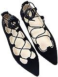 SOPHIART(ソフィアート) レースアップシューズ バレーシューズ フラットシューズ 編み上げ 歩きやすいフラットタイプのレースアップシューズ (39(日本サイズ24.5cm相当), ブラック)
