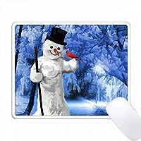 冬の青い場面の絵に赤い枢機卿の鳥がいる雪だるま PC Mouse Pad パソコン マウスパッド