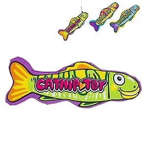 YATDA 猫おもちゃ けりぐるみ おもちゃ キャットニップ入り お魚型なペットおもちゃ 猫 運動不足 ストレス解消 ダイエット用 ペット遊びおもちゃ (グリーン)
