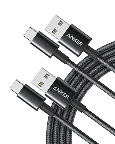 Anker 高耐久ナイロン USB-C & USB-A 2.0 ケーブル【2本セット / 2重編込の高耐久ナイロン素材】Galaxy S9 / S9+ / S8 / S8+ / Note 8, Xperia XZ他対応 (ブラック 1.8m)