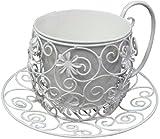 かわ畑 アイアン製鉢カバー ティーカップ型プランター ホワイト 1306IFH008