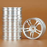 Hzjundasi 4PCS Silver 1/10PP-009D Aluminium ホイールリム for 1/10 RC On Road Drift Car Rally Sakura CS D4 HSP 94123 94122
