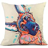 Redland Art Cute Pet Dogs Pattern Cotton Linen or Cotton Polyester Throw Pillow Case Cushion Cover Home Decor, Cotton Linen, Cd-go-c3, 18x18