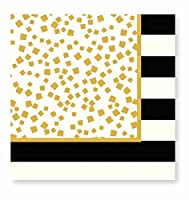 C.R. Gibson Holiday Cheer 20 Count Lunch Napkins, Gold/Black by C.R. Gibson