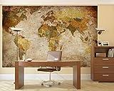 世界地図 の 写真  ワールドマップ  レトロ   壁画?- 壁や 部屋の装飾 インテリア サイズ 200x140cm