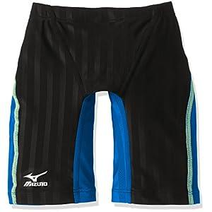 MIZUNO(ミズノ) レース用競泳水着 ジュニア(男の子) ストリームアクセラ ハーフスパッツ N2MB6921 91:ブラック×ライトブルー 140