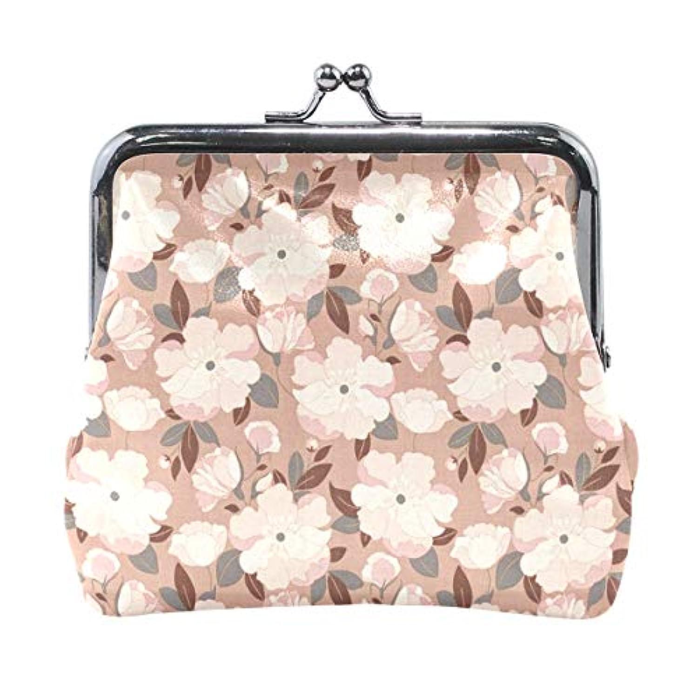 がま口 小銭入れ 財布 ピンクの花 コインケース レザー製 丸形 軽量 人気 おしゃれ プレゼント ギフト 雑貨