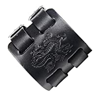 ztuoヴィンテージドラゴントーテム柄レザーカフブレスレットバングル調節可能 ブラック