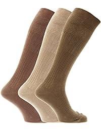 メンズ 綿100% リブハイソックス 靴下セット (3足組) 男性用 (24.5-29.5cm) (デザイン5)