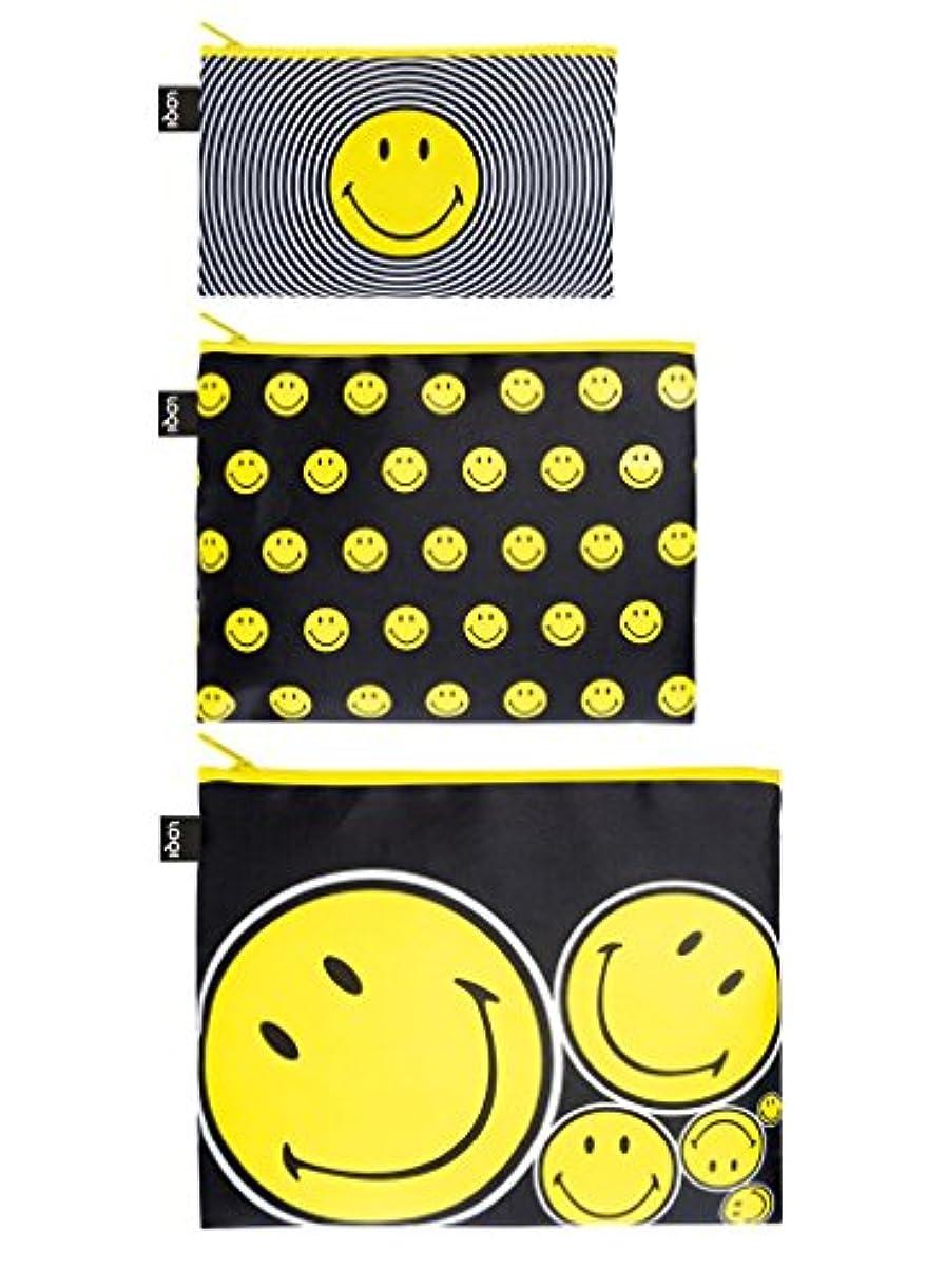 八百屋さん技術者赤LOQI(ローキー) ジップポーチ イエロー 3個セット Smiley (ZP.SM)