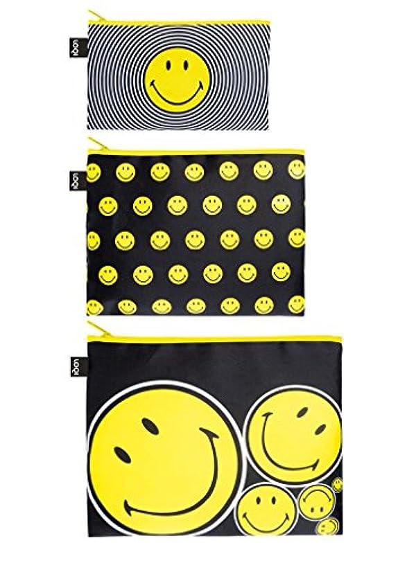 下多用途禁止LOQI(ローキー) ジップポーチ イエロー 3個セット Smiley (ZP.SM)