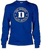 DukeブルーDevils Mens Royal College円長袖Tシャツ ブルー