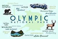 オリンピック国立公園–Typographyとアイコン 16 x 24 Giclee Print LANT-84747-16x24