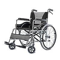 車いす-DS- 車いす、軽量折りたたみポータブル旅行、アルミニウム合金高齢者が手を触れることができない手動の車いす && (色 : Gray)