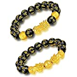 Feng Shui Black Obsidian Wealth Bracelet,Vietnamese Sagin Pixiu Character for Protection Can Bring Luck and Prosperity,Suitab